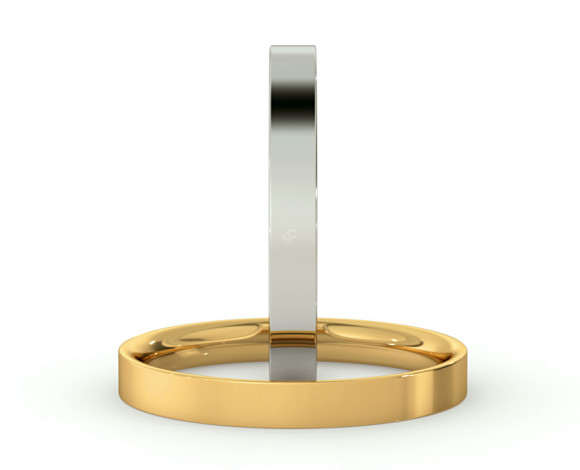 Flat Court Wedding Ring - 2.5mm width, Thin depth - HWNC2513 - 360 animation