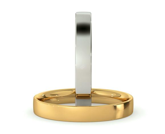 Flat Court Wedding Ring - 3mm width, Thin depth - HWNC313 - 360 animation