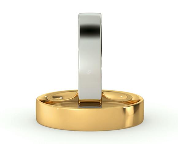 Flat Court Wedding Ring - 4mm width, Thin depth - HWNC413 - 360 animation