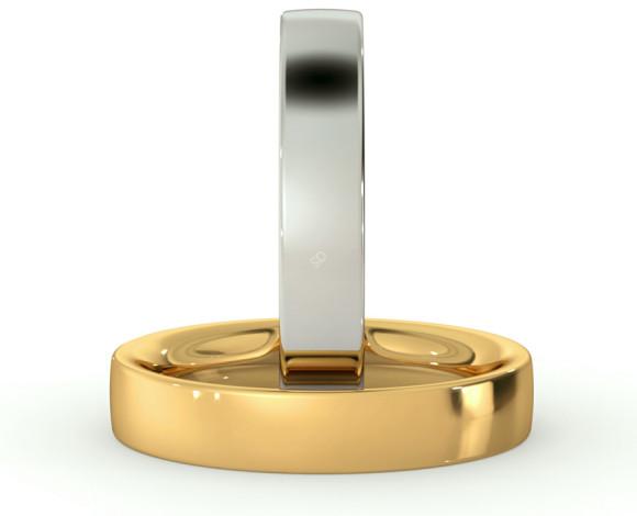 Flat Court Wedding Ring - Heavy weight, 4mm width - HWNC421 - 360 animation