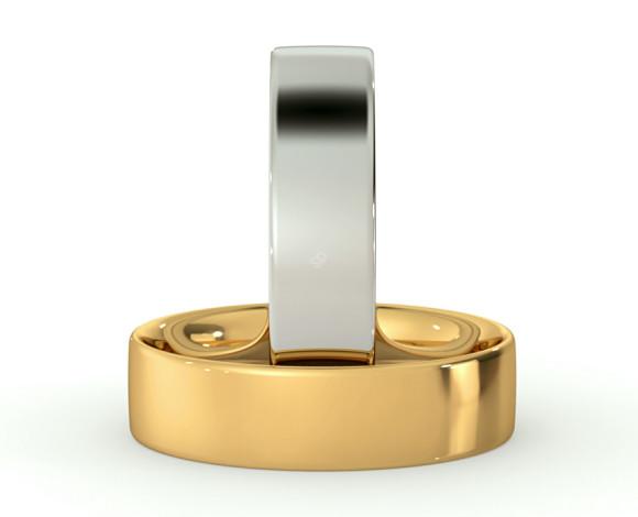 Flat Court Wedding Ring - 5mm width, Thin depth - HWNC513 - 360 animation