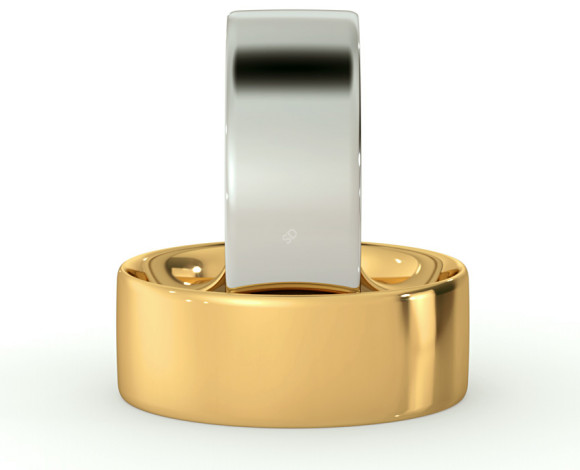 Flat Court Wedding Ring - 7mm width, Thin depth - HWNC713 - 360 animation