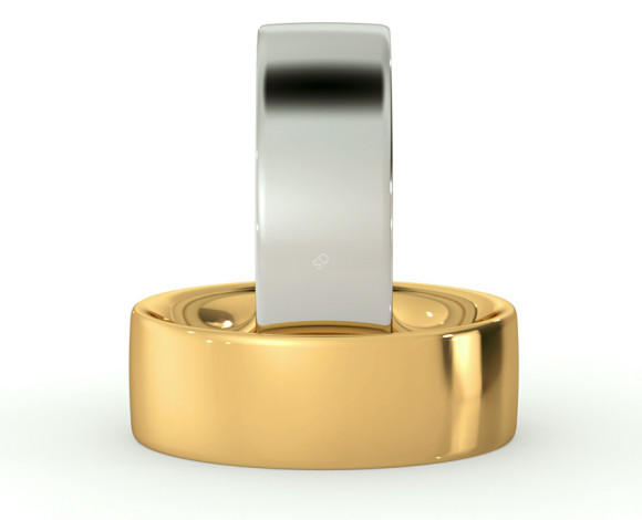 Flat Court Wedding Ring - Heavy weight, 7mm width - HWNC721 - 360 animation