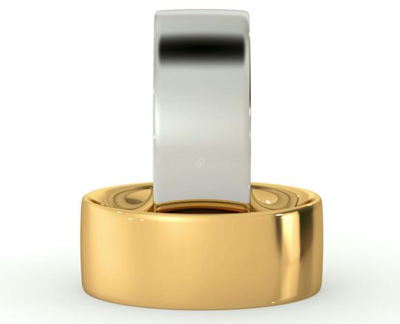 Flat Court Wedding Ring - Heavy weight, 8mm width - HWNC821 - 360 animation