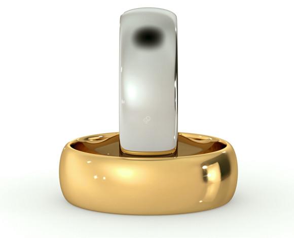 D Shape Wedding Ring - Lightweight, 6mm width - HWND613 - 360 animation