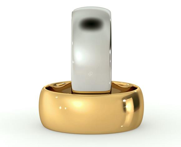 D Shape Wedding Ring - Lightweight, 7mm width - HWND713 - 360 animation