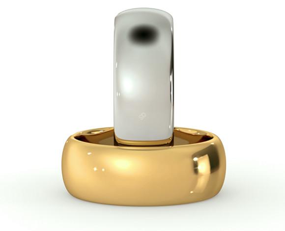 D Shape Wedding Ring - 7mm width, Medium depth - HWND717 - 360 animation