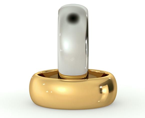 D Shape Wedding Ring - Heavy weight, 7mm width - HWND721 - 360 animation