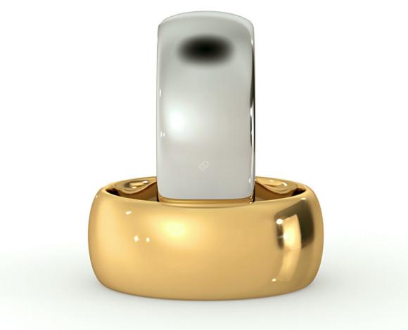 D Shape Wedding Ring - 8mm width, Medium depth - HWND817 - 360 animation