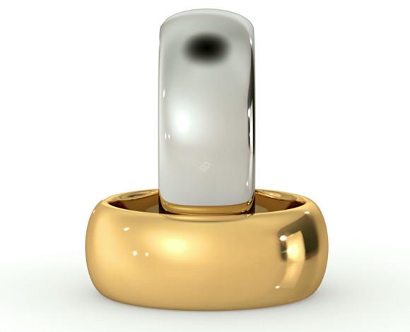 D Shape Wedding Ring - Heavy weight, 8mm width - HWND821 - 360 animation
