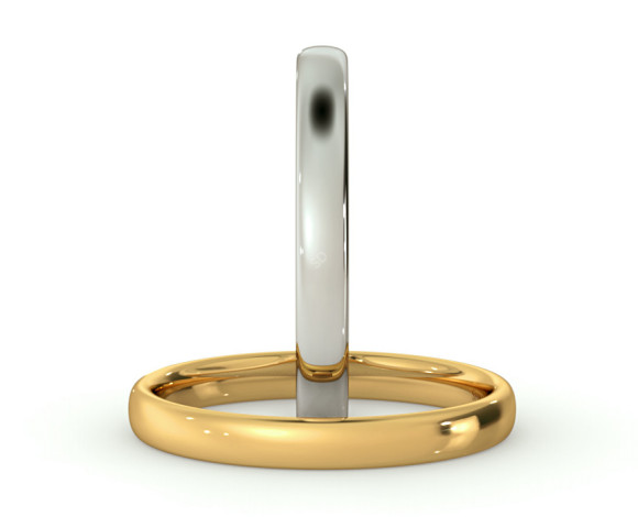 Traditional Court Wedding Ring - Lightweight, 2.5mm width - HWNE2513 - 360 animation