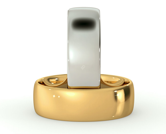 Traditional Court Wedding Ring - Lightweight, 6mm width - HWNE613 - 360 animation