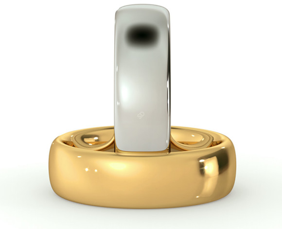 Traditional Court Wedding Ring - Heavy weight, 6mm width - HWNE621 - 360 animation