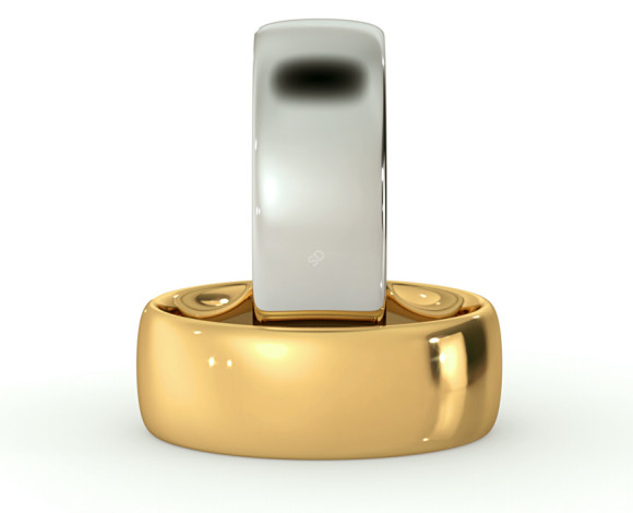 Court Shape Wedding Ring - 7mm width, 1.7mm depth - HWNE717 - 360 animation