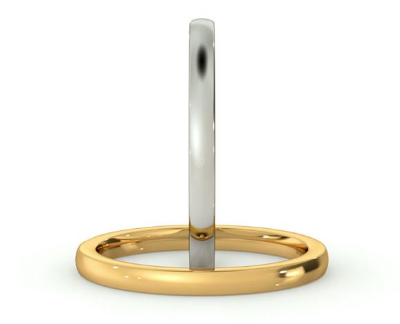 Slight Court with Flat Edge Wedding Ring - 2mm width, Medium depth - HWNJ217 - 360 animation