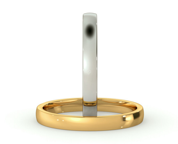 Slight Court with Flat Edge Wedding Ring - Light weight, 2.5mm width - HWNJ2513 - 360 animation