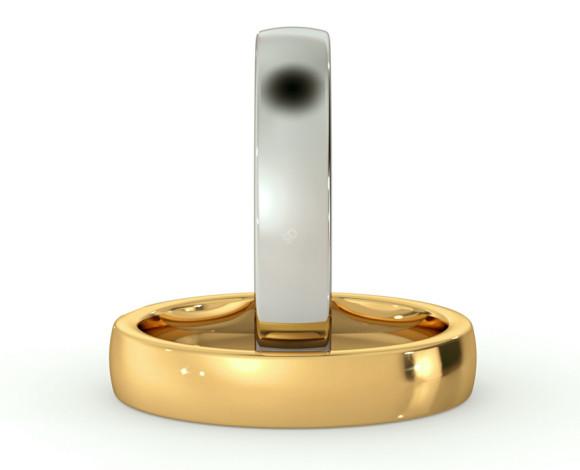 Slight Court with Flat Edge Wedding Ring - 4mm width, Medium depth - HWNJ417 - 360 animation