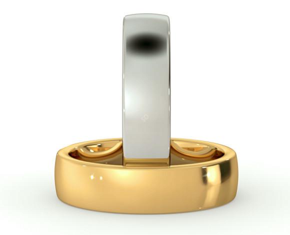 Slight Court with Flat Edge Wedding Ring - 5mm width, 1.7mm depth - HWNJ517 - 360 animation