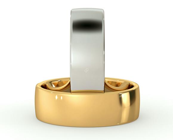 Slight Court with Flat Edge Wedding Ring - Light weight, 6mm width - HWNJ613 - 360 animation