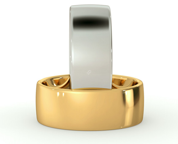 Slight Court with Flat Edge Wedding Ring - Light weight, 7mm width - HWNJ713 - 360 animation