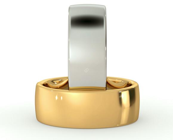Slight Court with Flat Edge Wedding Ring - 7mm width, Medium depth - HWNJ717 - 360 animation