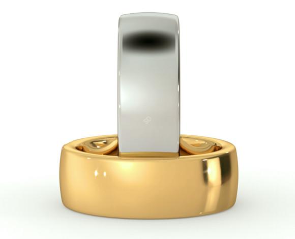 Slight Court with Flat Edge Wedding Ring - 7mm width, 2.3mm depth - HWNJ721 - 360 animation