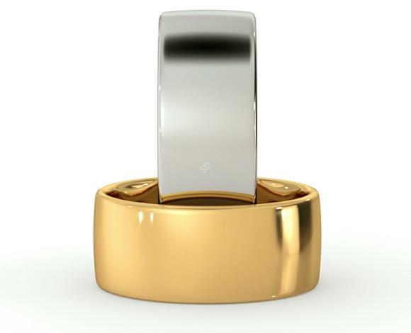 Slight Court with Flat Edge Wedding Ring - Light weight, 8mm width - HWNJ813 - 360 animation