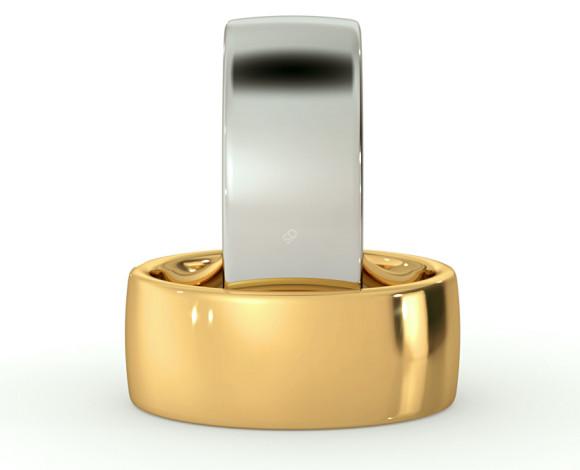 Slight Court with Flat Edge Wedding Ring - 8mm width, Medium depth - HWNJ817 - 360 animation