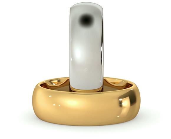 D Court Wedding Ring - 6mm width, 1.8mm depth - HWNP617 - 360 animation