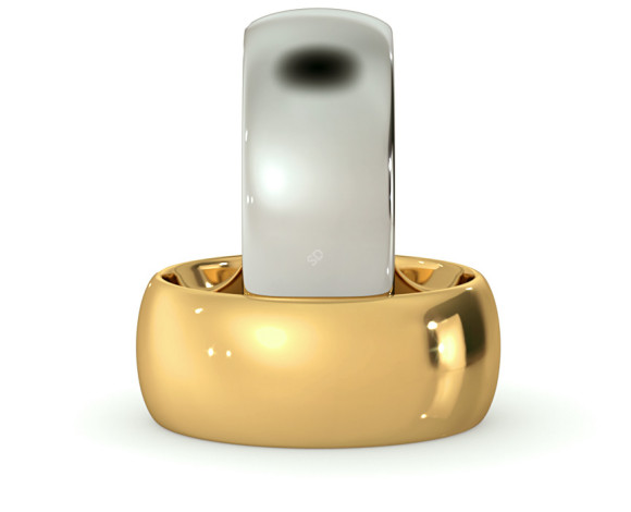 D Court Wedding Ring - 8mm width, 1.8mm depth - HWNP817 - 360 animation