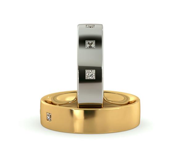 Wedding Ring with Three Princess cut Diamonds - HWP015 - 360 animation