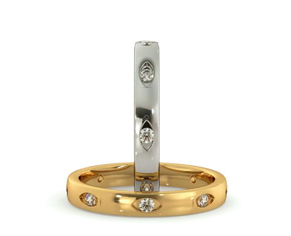 Rub-Over Designer Round cut Diamond set Wedding Band - HWR003 - 360 animation