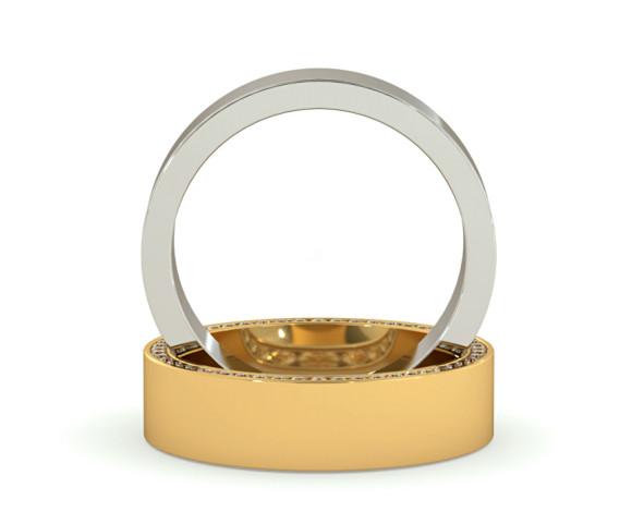 Channel set Edge Round cut Diamond set Wedding Ring - HWR004 - 360 animation