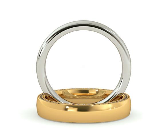 Micro set Edge Round cut Diamond set Wedding Ring - HWR005 - 360 animation