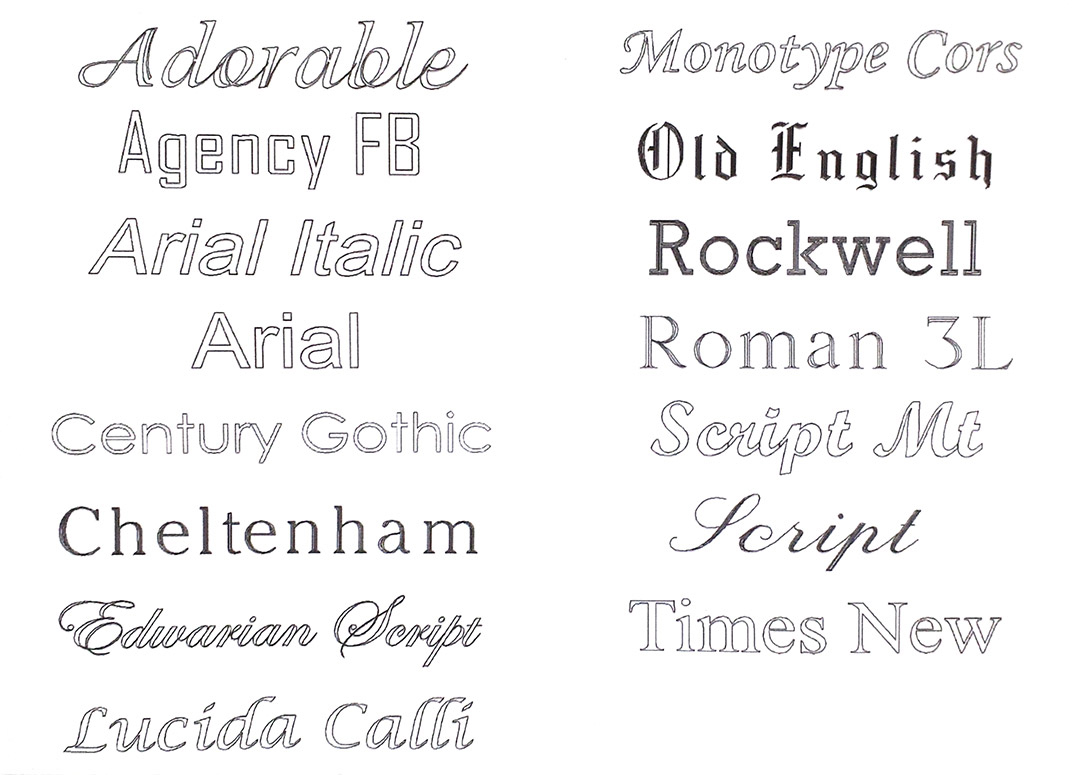 Engraving font type list