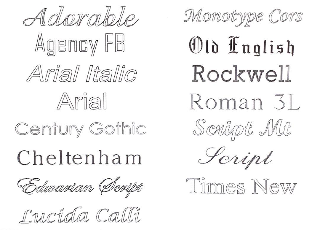 Engraving font type list